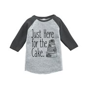 7 ate 9 Apparel Girl's Here For The Cake Wedding Grey Baseball Tee 18 Months