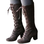 Women's Faux Suede Knee High Lace Up Chunky Block Stretch Leg Calf Boots