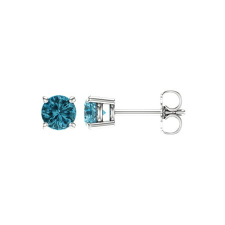 - 5mm Round Blue Zircon Stud Earrings in 14k White Gold