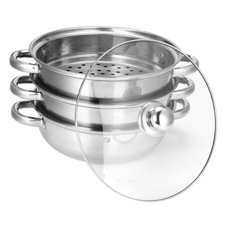- 3 Tier Stainless Steel Steamer Pot Steaming Cookware Saucepot Rice Cooker Double Boilder with Visible Cover