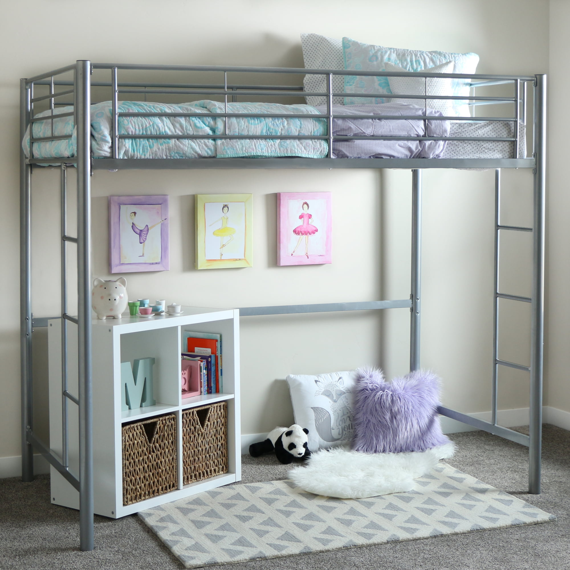 Twin Metal Loft Bed   Black (Multiple Colors Available)   Walmart.com