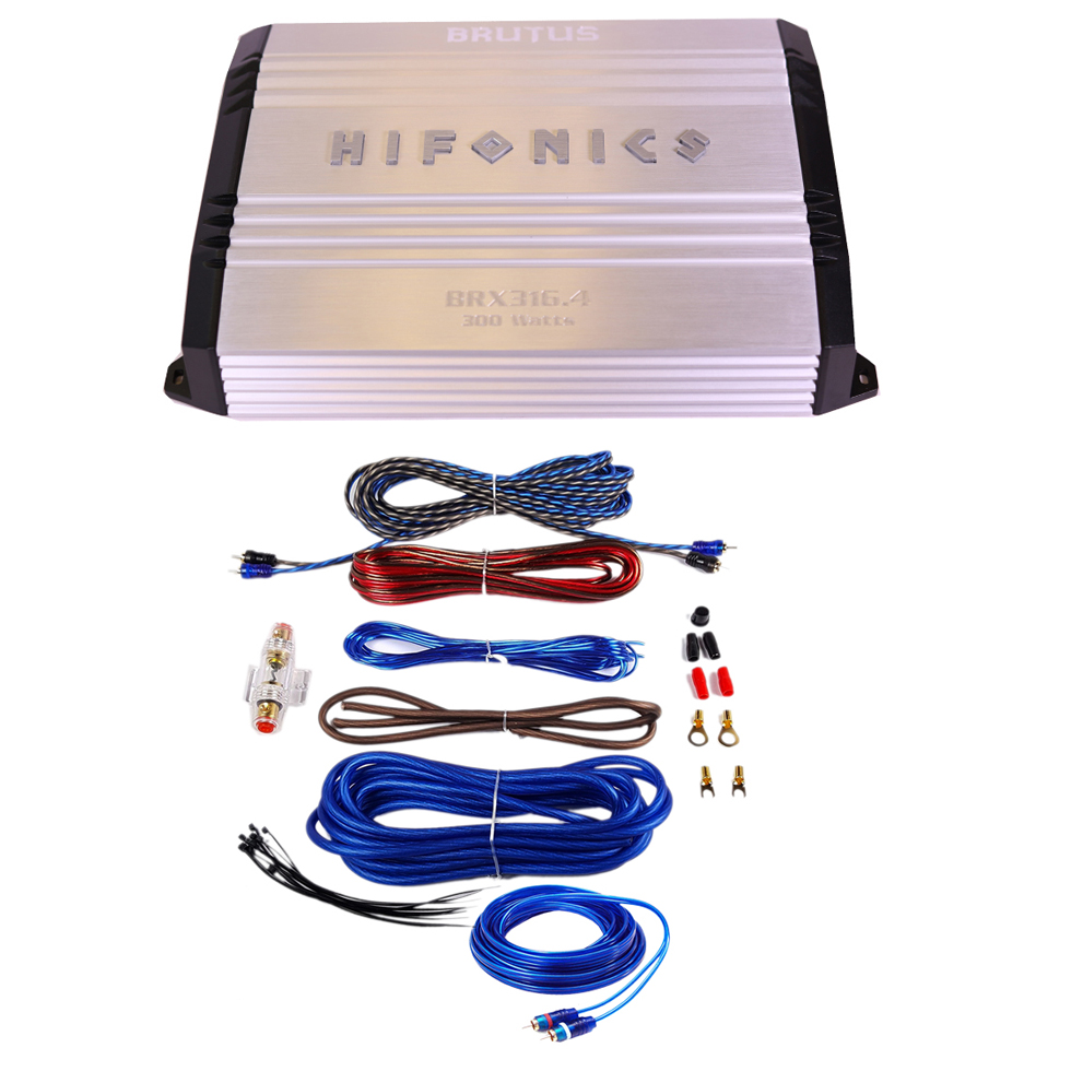 Hifonics Brutus Series BRX316.4 320W 4 Channel Super Class AB Car Amplifier With Wiring Kits