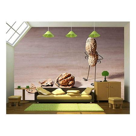 wall26 - Miniature with Peanut Man and Walnut Brain - Removable Wall Mural | Self-Adhesive Large Wallpaper - 100x144 - Peanuts Halloween Wallpaper