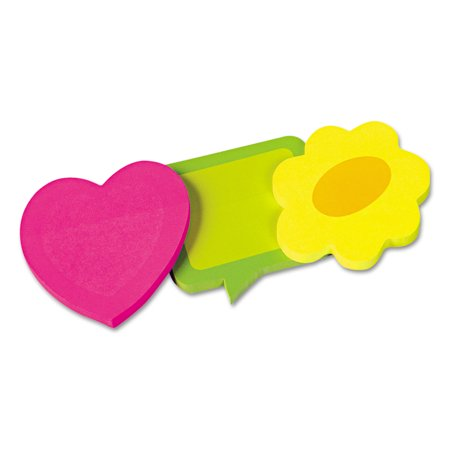 Two-Tone Self-Stick Notepads, 3 Die-Cut Shapes, 3 50-Sheet - Die Cut Self Stick Notepad