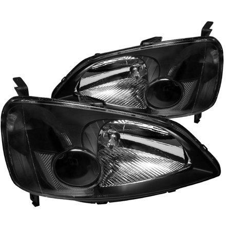 Spec-D Tuning For 2001-2003 Honda Civic 2/4Dr Replacement Black Headlights Head Lamps Lights (Left+Right) 2001 2002 2003