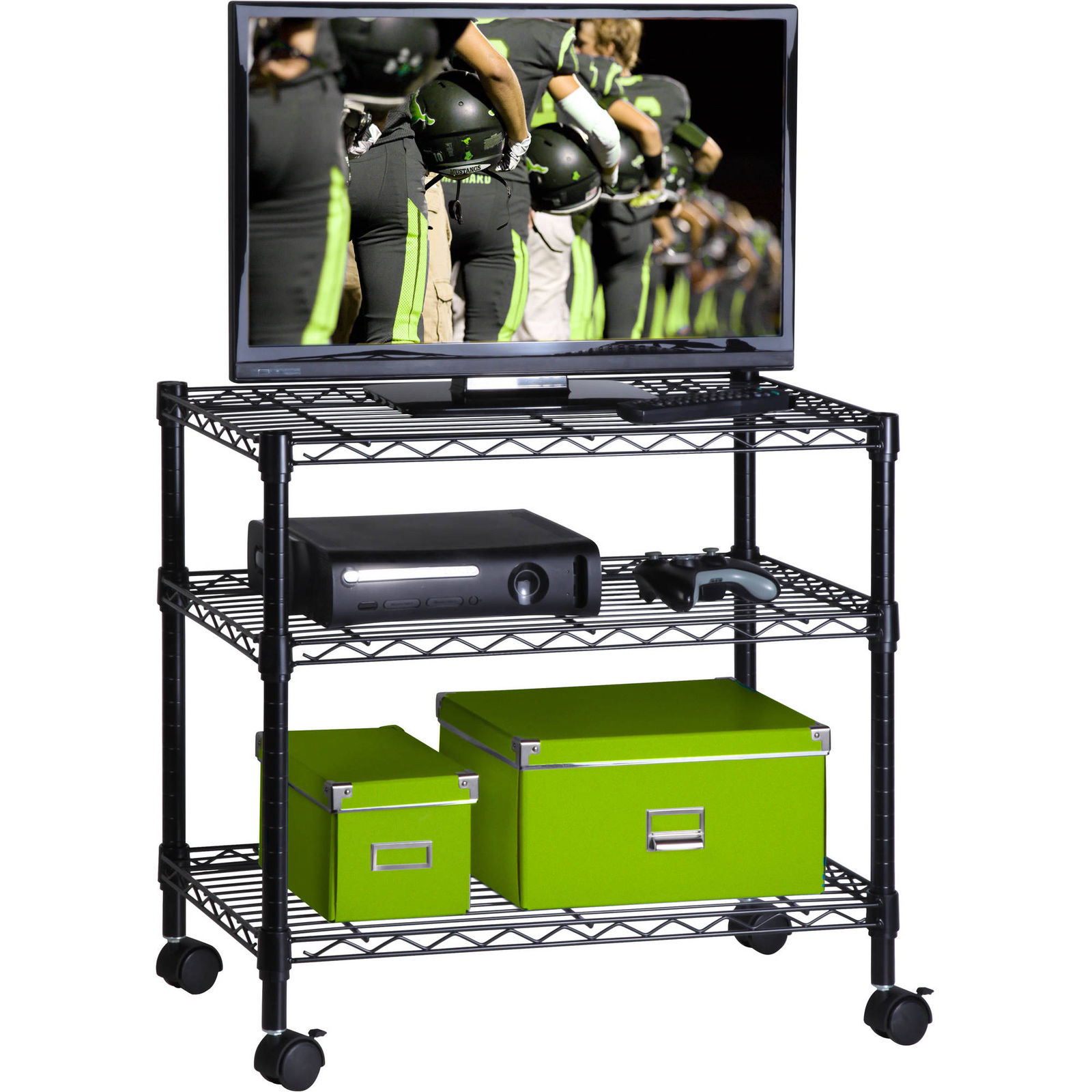 "GHP 16""x28""x26"" Portable 3-Tier Adjustable Shelves Stand Steel Rolling Laptop TV Cart"