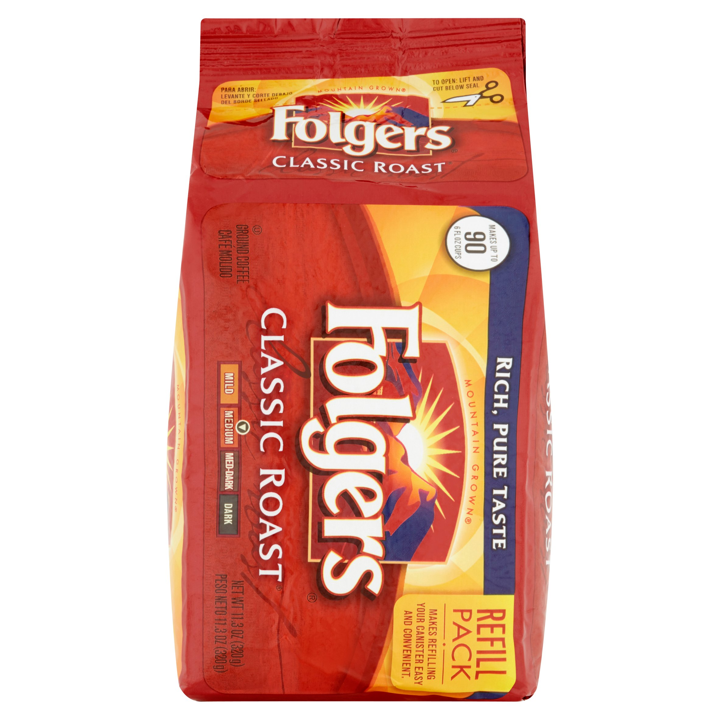 Folgers Classic Roast Ground Medium Coffee Refill Pack, 11.3 oz