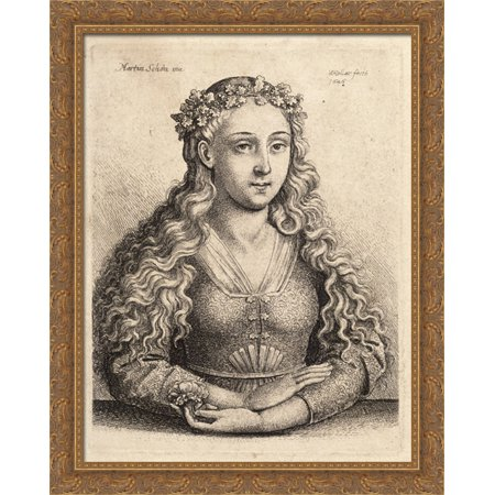 Woman with a wreath of oak leaves 28x36 Large Gold Ornate Wood Framed Canvas Art by Martin Schongauer
