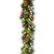 """National Tree 9' x 10"""" Crestwood Spruce Garland with Silver Bristle, Cones, Red Berries and Glitter with 50 Battery Operated Soft White LED Lights"""