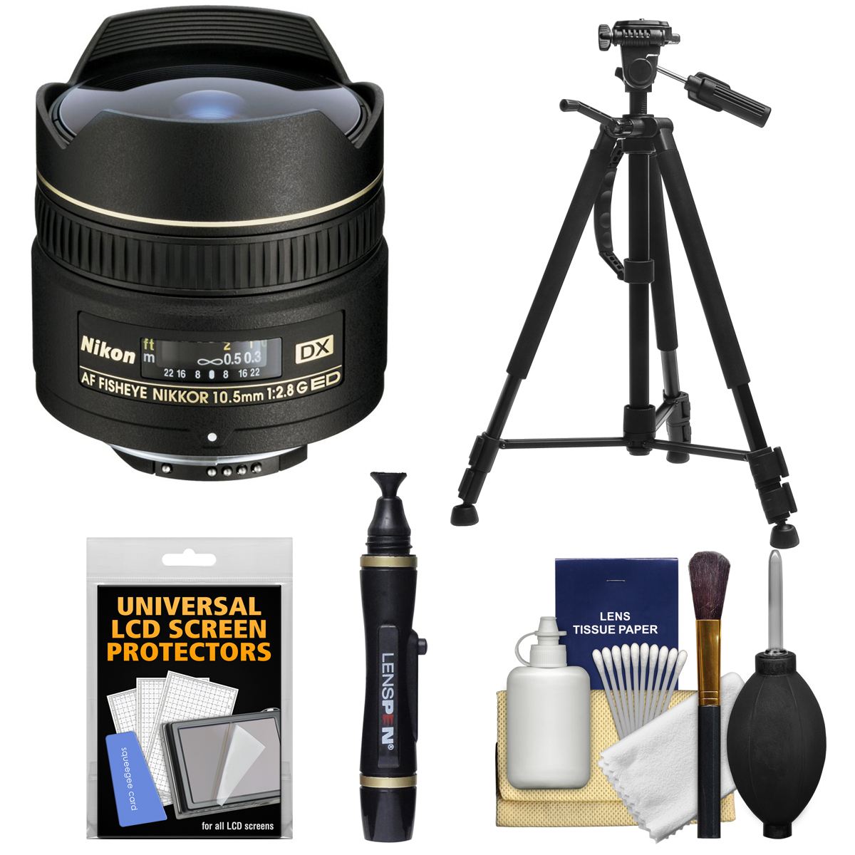 Nikon 10.5mm f/2.8G ED DX AF Fisheye-Nikkor Lens with Tripod + Kit for D3100, D3200, D3300, D5100, D5200, D5300, D7000, D7100 DSLR Cameras