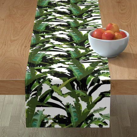 Image of Table Runner Banana Leaf Palm Leaf Palm Frond Palms Palm Monstera Cotton Sateen