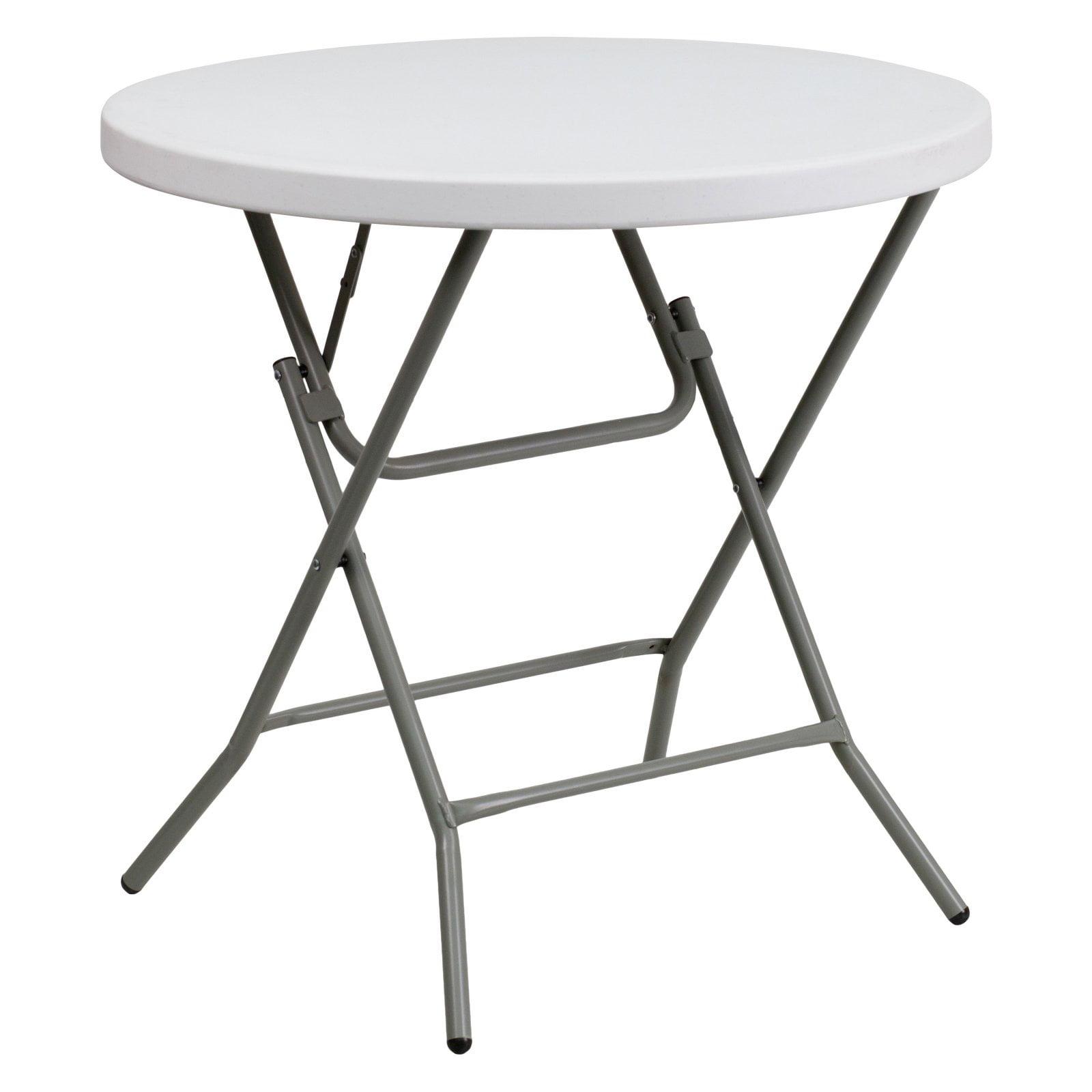 Flash Furniture 32'' Round Granite White Plastic Folding Table by Flash Furniture