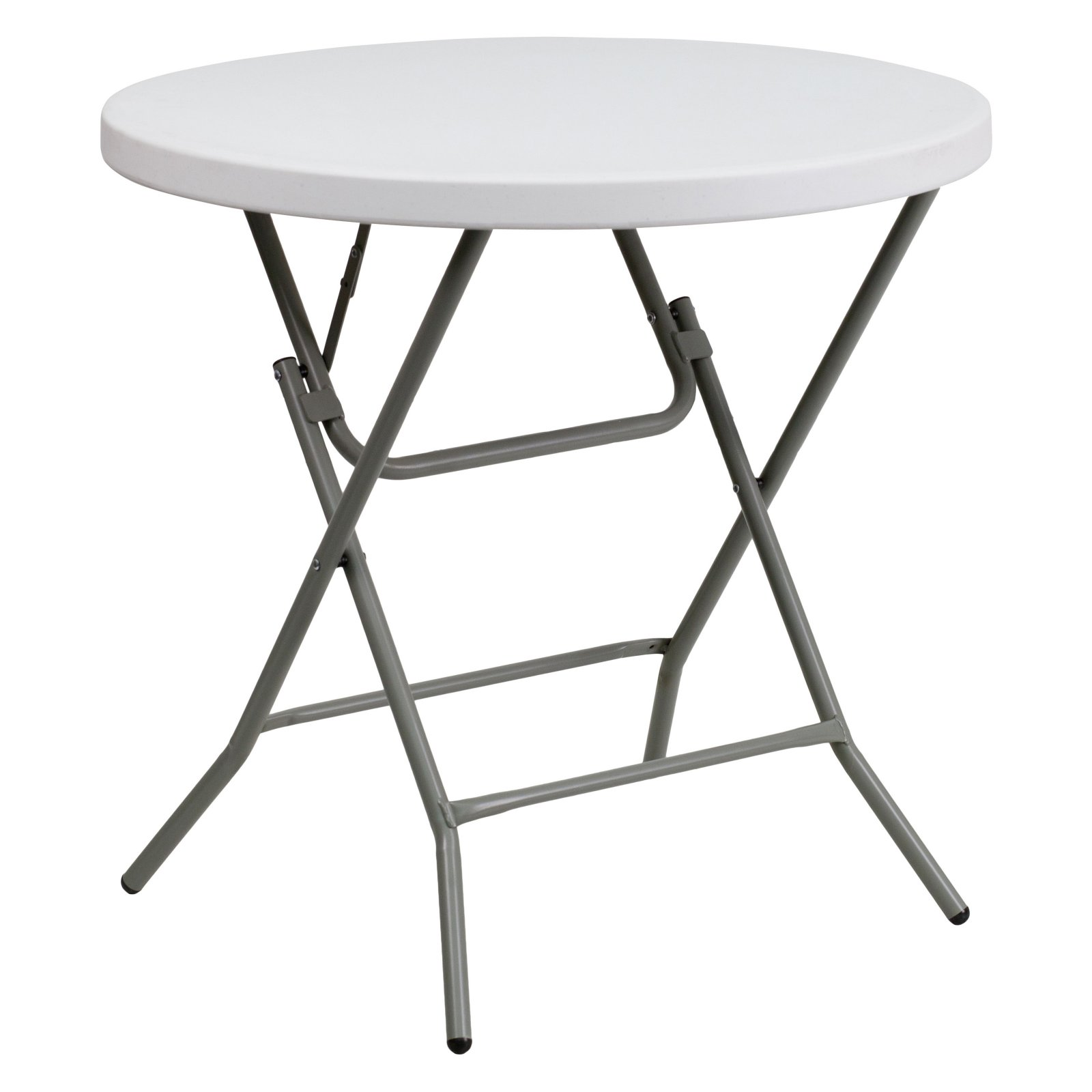 Flash Furniture 32'' Round Granite White Plastic Folding Table