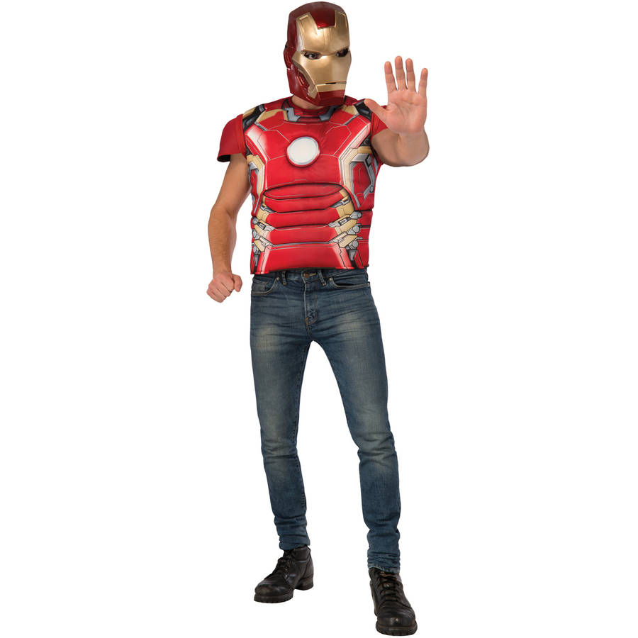 Iron Man Mark 43 Shirt and Mask Men's Adult Halloween Costume