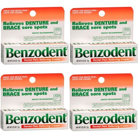 4 Pack Benzodent Denture Ointment - 0.25 Oz Each