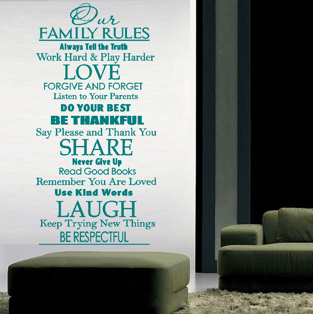 "Decal ~ Our Family Rules #2 : Wall Decal, ~ 20"" x 40"" (Black)"