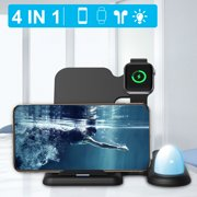 4 in 1 Wireless Fast Charger Stand + Touch Control Night Light for Airpods for Apple Watch for iphone, USB Fast Charging Dock Station for Apple Accessories