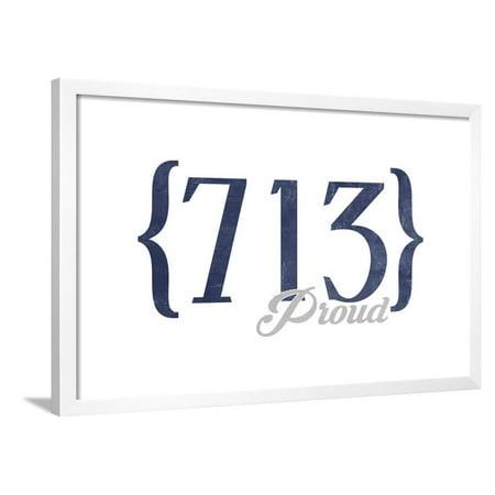 Houston, Texas - 713 Area Code (Blue) Framed Print Wall Art By Lantern Press ()