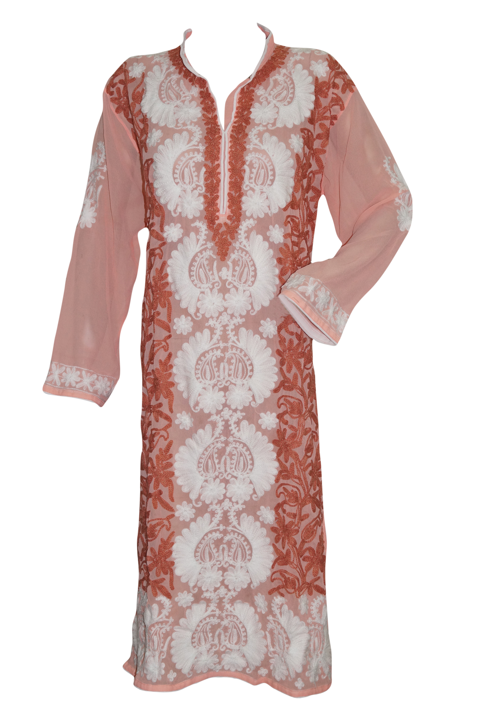 Mogul Designer Indian Long Tunic Peach White Floral Embroidered Caftan Kurti Cover Up Dress