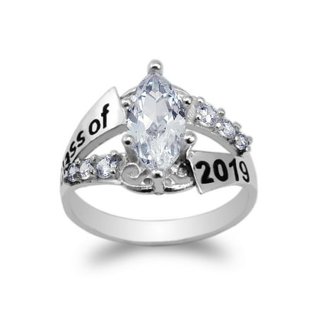 White Gold Plated Graduation Class of 2019 School Ring with 1.25ct Marquise CZ Size