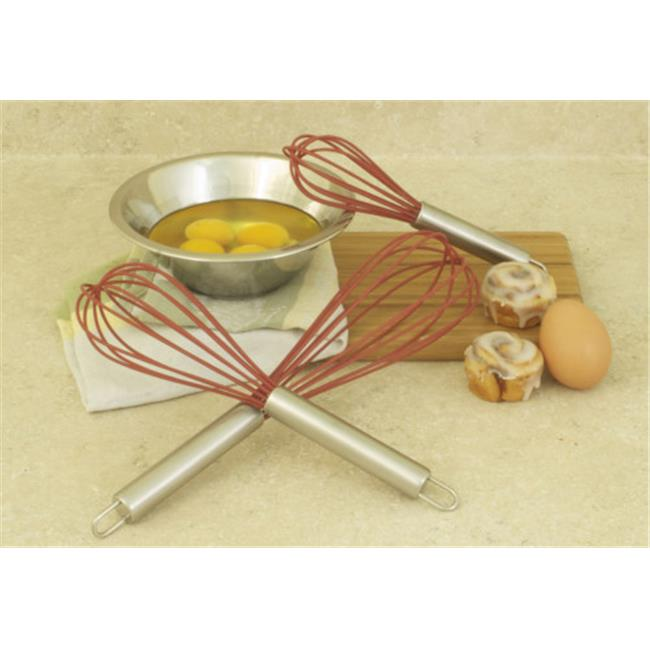 Cookpro 734 8 inch Stainless Steel Red Silicone Whisk - 3 Piece