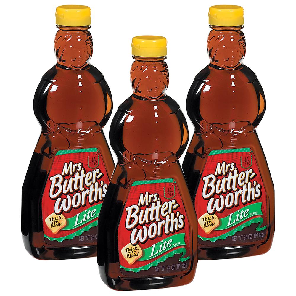 (3 Pack) Mrs. Butterworth's Lite Syrup 24 Fl Oz Plastic Bottle