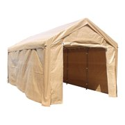 ALEKO 10' x 20' Steel Frame with PVC Removable Walls Canopy Carport Tent, Heavy Duty, Beige Color