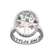 Family Jewelry Personalized Mother's Sterling Silver Birthstone Family Tree Ring