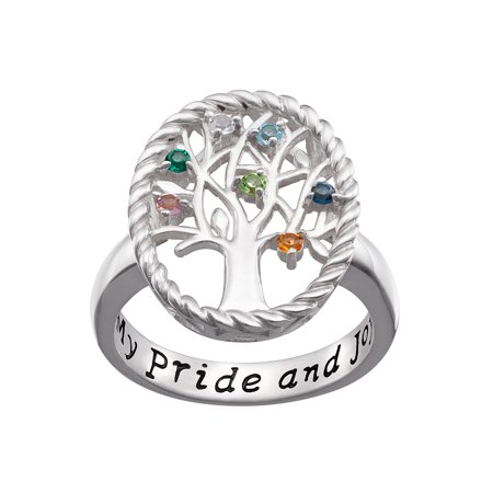 Family Jewelry Personalized Mother's Sterling Silver Birthstone Family Tree Ring ()