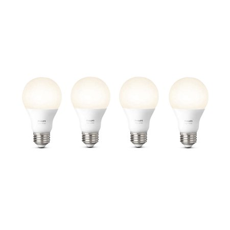 Philips Hue White Smart A19 Light Bulb  60W Equivalent  Hub Required  4 Bulbs