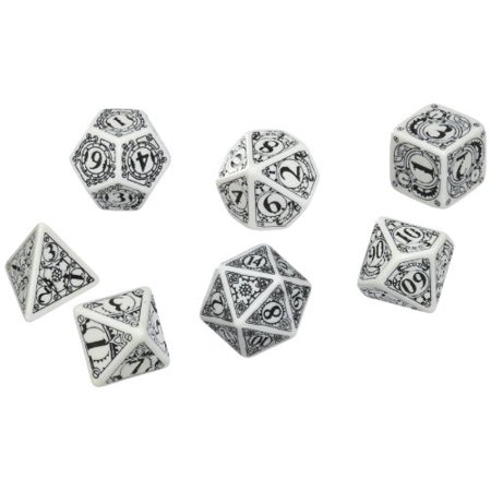 Q-Workshop Polyhedral 7-Die Set: Carved Steampunk Dice Set (White and Black) Multi-Colored