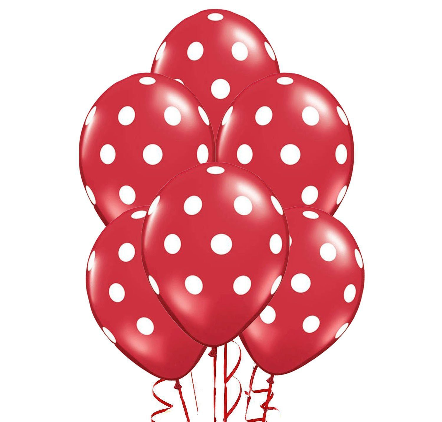 Polka Dot Balloons 11in Premium Red with All-Over print White Dots Pkg/100