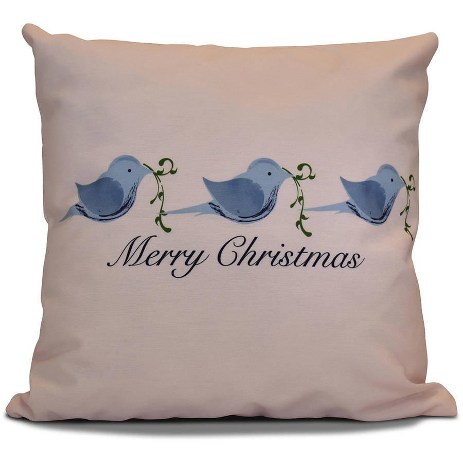 "Simply Daisy 16"" x 16"" Merry Christmas Birds Word Print Pillow"