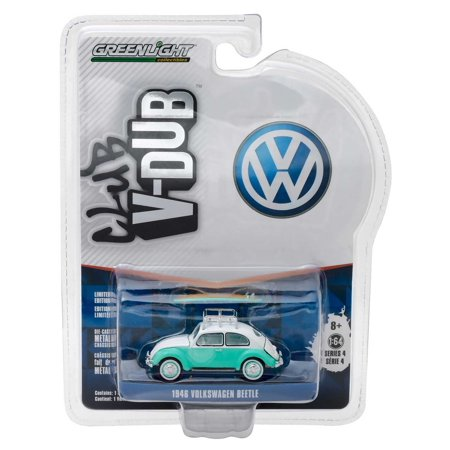 Greenlight V-DUB Series: 1946 VW Beetle with Roof Rack and Surfboards 1/64 Scale