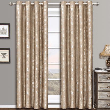Women Jacquard Pattern - Charlotte Pair (Set of 2) Jacquard Grommet Window Curtain Panels Leafy  Pattern Design