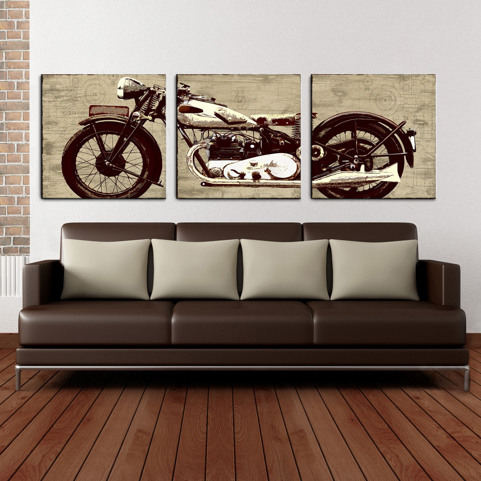 motorcycle 24 x 72 canvas art print triptych