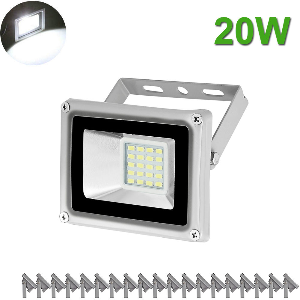 20PCS Viugreum 20W LED Floodlight Spotlight Flood light Cool White SMD Chip Outdoor Garden Landscape Yard Lamp AC 110V Security Lights Waterproof IP65 Building Plant House Tree Decor NO PLUG