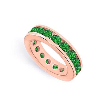 Eternity Rings Channel Set Green Emerald Created on 14K Rose Gold Vermeil 4 CT TGW - image 1 de 2
