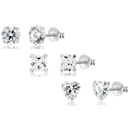 3 Pairs Sterling Silver Hypoallergenic CZ Simulated Diamond Stud Earrings for Kids (Nickel Free)