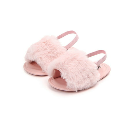 Newborn Baby Girls Flat Sandals Faux Fur Toddler Infant Crib Shoes (Auburn Tigers Infant Slipper)