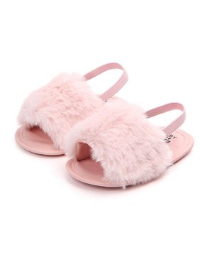 Newborn Baby Girls Flat Sandals Faux Fur Toddler Infant Crib Shoes Slippers