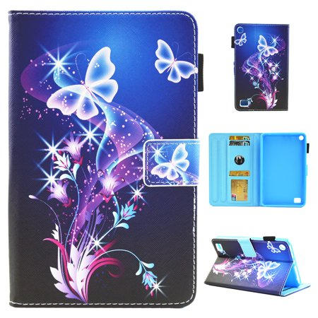 Amazon Kindle Fire 7 2017/ 2015 Case, Allytech Smart Book Style Stand Protective Case Cover for Amazon Kindle Fire 7 inch Tablet (7th/5th Generation, 2017/2015 Release), Purple Butterfly (Kindle Case For 7 Inch Tablet)