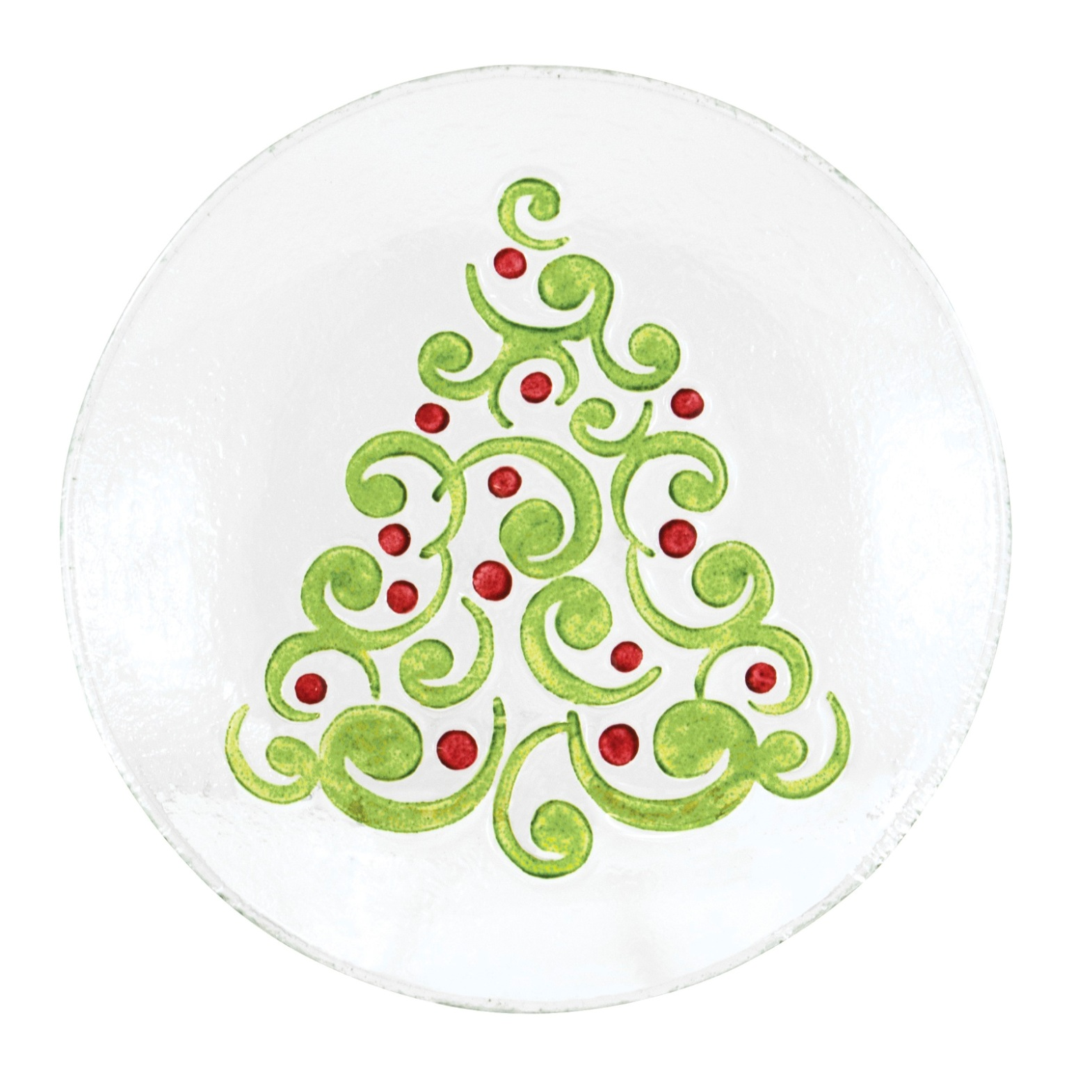 Tannenbaum Christmas Tree Embossed Holiday 8 Inch Glass Plate Serving Platter