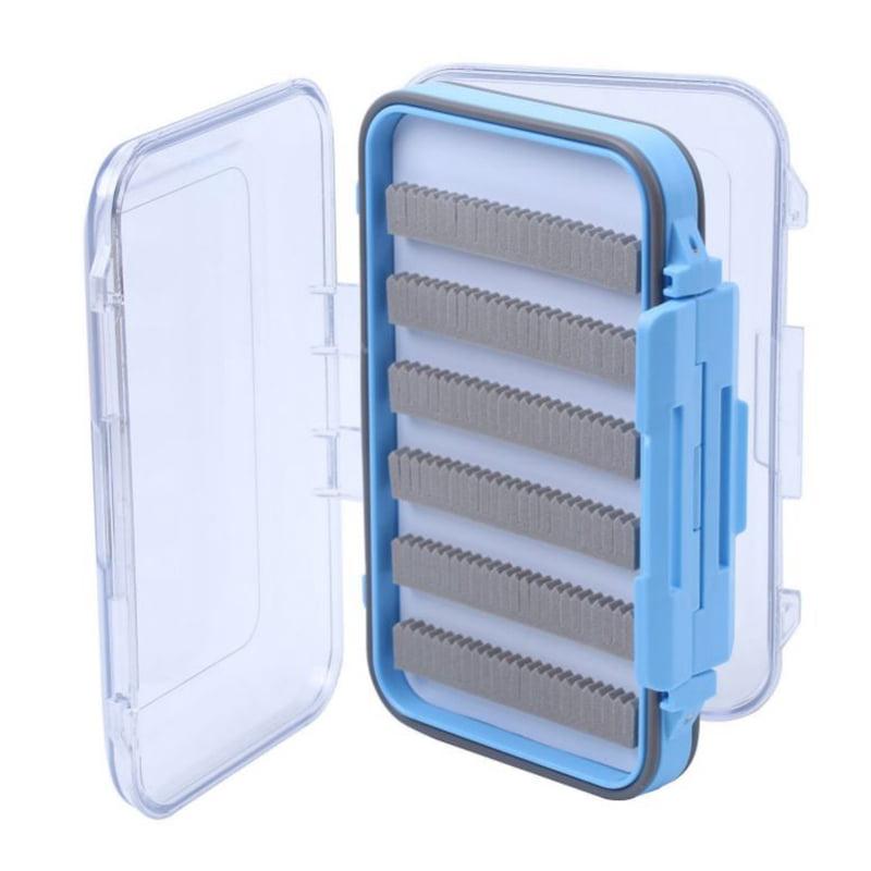 Waterproof Plastic Fly Box Slit Foam Double Side Clear Fly Fishing Tackle Box Black Blue by