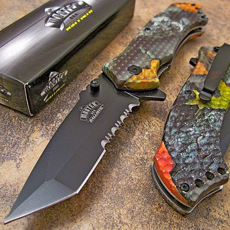 Master Hardwoods Camo Tanto Spring Assisted Opening Folding Hunting Pocket Knife