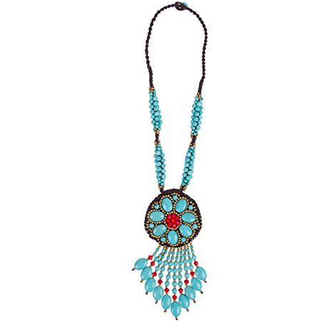 GOODSMANN Bohemian Style Jewelry Necklace, Vintage Flower Jewelry Sweater Chain Necklace, Hand-made Natural Turquoise Necklace,Bohemian Style 9918-0011-37