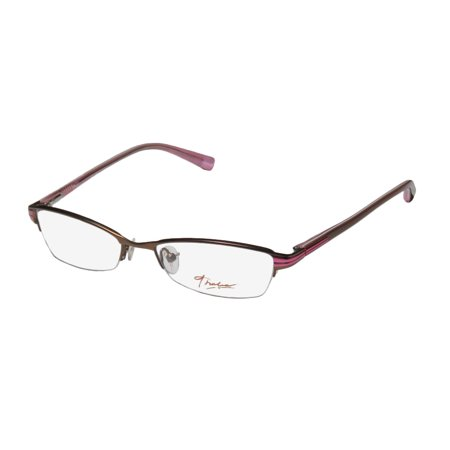 New Thalia Benita Womens/Ladies Designer Half-Rim Brown / Fuchsia Half-rimless Upscale In Style Frame Demo Lenses 51-17-130 Spring Hinges Eyeglasses/Eye Glasses Rimless Half Eye