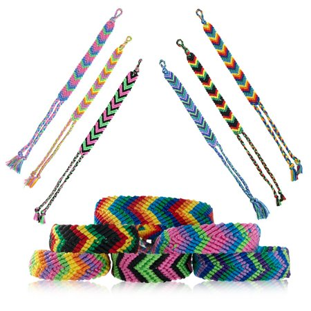 Friendship Bracelets for Kids, Teens, Girls, Boys | Handmade Woven Friendship Bracelet Bulk Set | Cool & Cute Stackable True V-Design Bracelets - Great Party Favors (Multiple Colors) (12 pcs) - Silicone Bracelets Bulk
