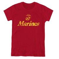 Trevco Sportswear USMC108-WT-2 Womens US Marine Corps & Retro Logo Short Sleeve T-Shirt, Cardinal - Medium