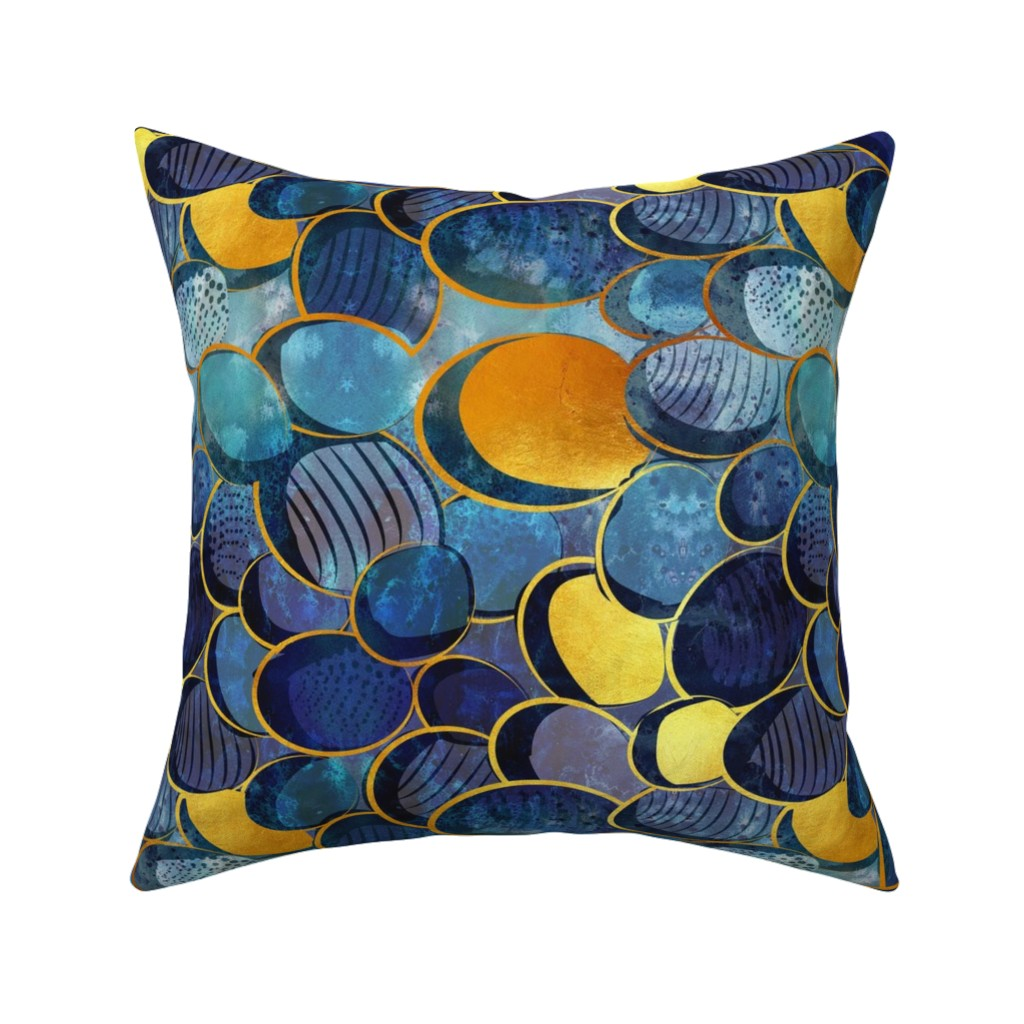 Aqua Navy Gold Mustard Throw Pillow Cover w Optional Insert by Roostery